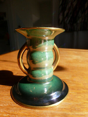 """Carlton Ware """"Vert Royale"""" Green,Blue & Gold Candle Holder 1713 Made In England"""