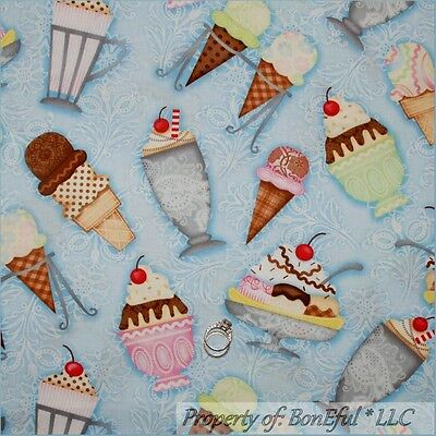 BonEful Fabric Cotton Quilt Blue White ICE CREAM Cone Cherry Birthday SCRAP