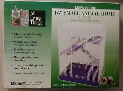 """New All Living Things Chew Proof 16"""" Small Pet Animal Home 3 Level"""