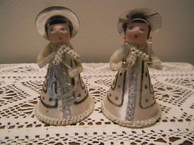 Vintage Lot 2 Angels Composition Heads Cardboard Chenille Glitter West Germany