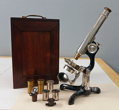 Gundlach-Type Bausch & Lomb Antique Nickel Plated Brass Research Microscope 1880