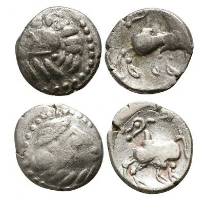 DANUBIAN CELTS SILVER COINS Celtic Drachm lot of 2, Scordisci/ Kapostaler type