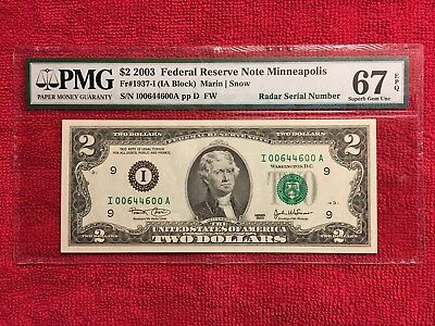"Fr. 1937-I  2003 2 Dollar FRN ""Radar Serial Number""  PMG 67EPQ"