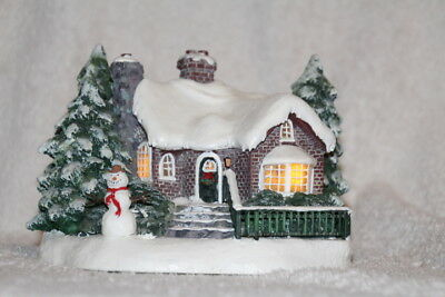 "Thomas Kinkade Teleflora Cottage ""a Village Christmas"" 2002 Lighted"