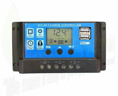 30A 12V/24V LCD Solar Panel Battery Regulator Charge Controller Dual USB LCD