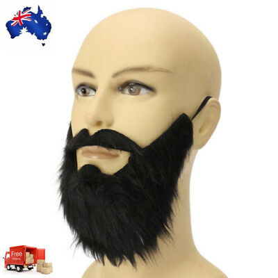 Fake Beard Costume Party Mustache Black Halloween for Pirate Cosplay AU