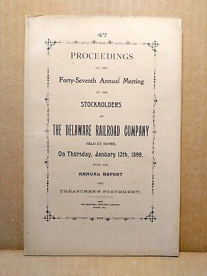 1899 Delaware Railroad Co. Annual Report to Stockholders Booklet Railway RR