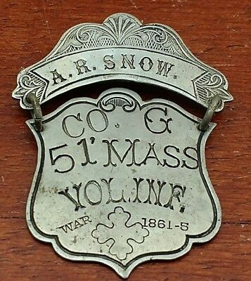 ORIGINAL ANTIQUE CIVIL WAR LADDER ID BADGE CO. G 51st MASS VOL INF ANDREW R SNOW