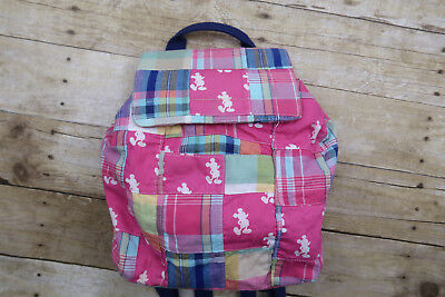 Disney Parks Authentic Plaid Mickey Mouse Mini Backpack Purse Pink Blue Small