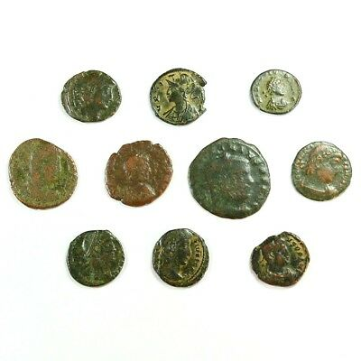 Ten (10) Nicer Ancient Roman Coins c. 100 - 375 A.D. Exact Lot Shown rm3357