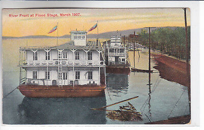 Gallipolis Ferry West Virginia WV Postcard 1909 River Front at Flood Stage