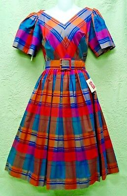 "Nwt-50's Vintage ""candee Cottons"" Full Skirt Plaid Fall Dress-Chevron Bodice-12"