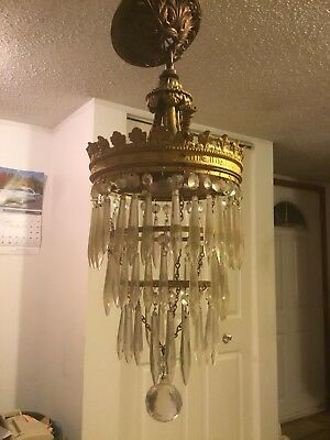Very Old  French BRASS ROUND Style Crystal Chandelier Lamp 23 X 9 1/2 2 TIER
