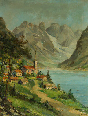 Theo Wiegman - Early 20th Century Oil, Hillside Town in Mountain Landscape