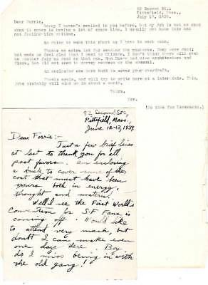 Original letters to FORREST ACKERMAN from 1935 & 1939 re: World's Fair & Sci-Fi.