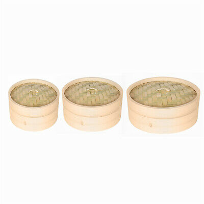 Bamboo Steamer Basket Chinese Rice Fish Cooking Food Cooker 15cm 18cm 21cm