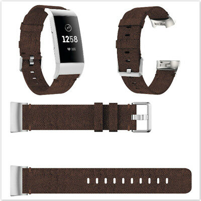 Casual Style Pure Color Woven Nylon Fabric Wristband Suit for Fitbit Charge 3
