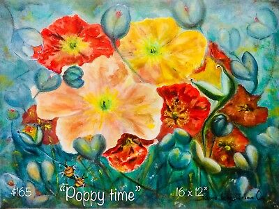 Art ...Poppies Original Acrylic On Canvas ... By Artist