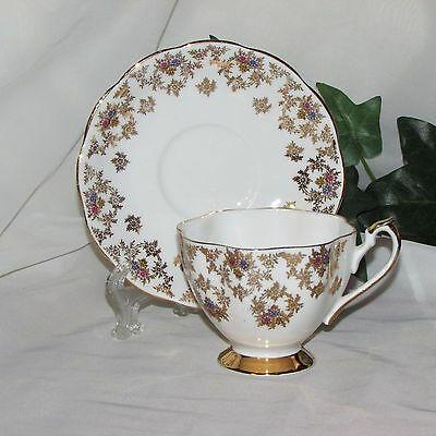 Vintage Queen Anne Fine Bone China Footed Cup & Saucer Gold Filigree Flowers