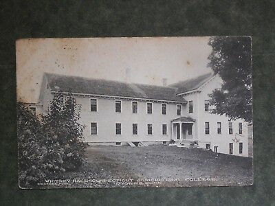 Post Card  I85771  Storrs, CT  Whitney Hall  Ct Agricultural College c-1908