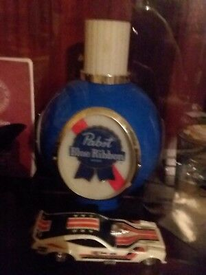 Pabst Blue Ribbon Lighted Plastic Wall Sconce Globe With Chimney Sign PBR