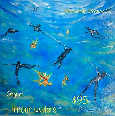 "Art ...""In Our Waters"" Original Acrylic On Canvas ... By Artist"