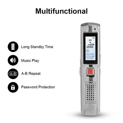 8GB Voice Recorder MP3 Player LCD Display With 8 Hours Recording Time AC1514