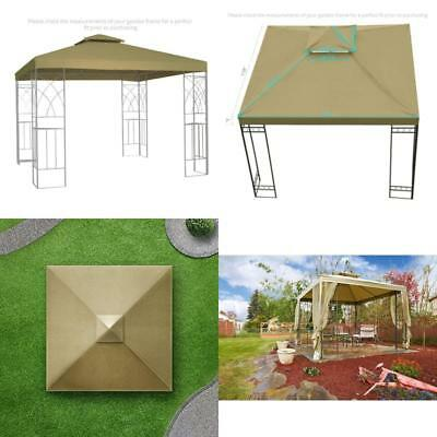 """Gazebo Canopy Roof Top Cover Replacement Waterproof 250g Beige Canvas 10"""" x 10"""""""