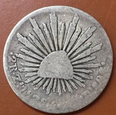1828 Zs Mexico 2 Reales Two Reale Silver First Republic Coin - TCC