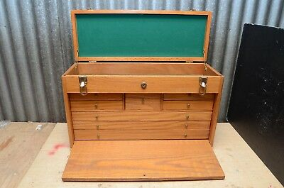 Vintage style Craftsman Wood 8 Drawer Industrial Machinist Chest Tool Box chest