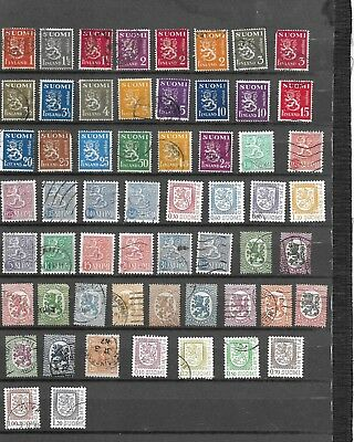 Finland. Lion Types.  Selection Of 58.  Fine Used. As Per Scan