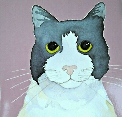Black /& White Cat Watercolour Birthday Card Cat Lover Greeting Cards Greetings
