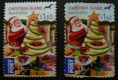 CHRISTMAS ISLAND 2012 2 x $1.60 CHRISTMAS SHEET & SELF/ADH FINE USED