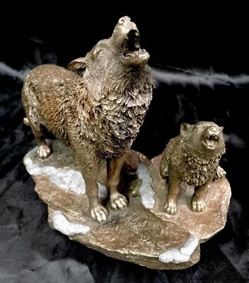 Veronese Bronze Figurine Animal Wolf Wolves Parent & Child Statue Home Decor new