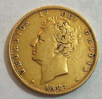 1827 King george IV Gold Bare Head Sovereign