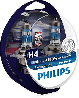 100% Original Philips RacingVision +150% H4 Headlight Bulbs (Twin) Xtreme Vision