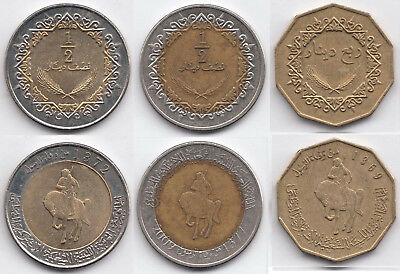 Libya / Libyen, 3 Coins, Different Years & Face Values, Bi-Metallic, CIR