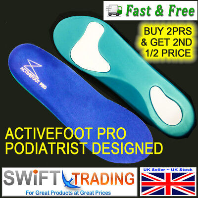 Orthotic Insoles for Arch Support Plantar Fasciitis Flat Feet Back & Ankle Pain