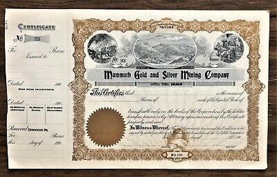 MAMMOTH GOLD & SILVER MINING CERTIFICATE NEVADA with COUNTERFOIL # 33 PRE 1910