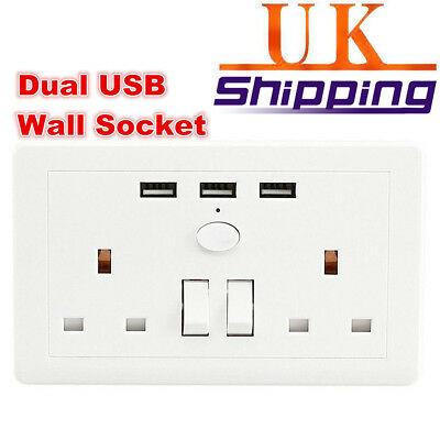 UK New 13A Charger Outlets Double 2 Gang Socket + 3 USB Port Plate Wall Plug