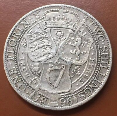1896 Great Britain Silver One Florin Two Shillings Coin TCC