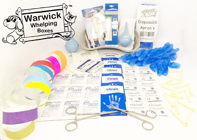 Warwick Complete Puppy Whelping Kit Aspirator Forceps Scissors Clamps & Guides