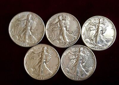 1941 1942 1943 1944 1945 Walking Liberty Silver Half Dollars