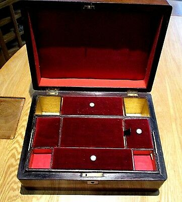 Victorian Rosewood Sewing/jewellery Box,lovely Gold Interior,red Velvet Lids.
