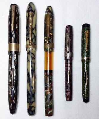 Grooup of Five Fountain Pens for Repair Average Condition