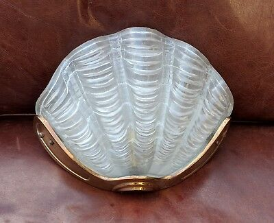 Art Deco Glass Clam Shell Wall Light 1930's Odeon style (lamp, shade, clamshell)