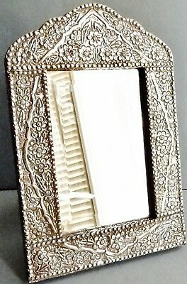 Antique Lg Ottoman Islamic Solid 900 Silver Frame & Beveled Mirror Floral 1870