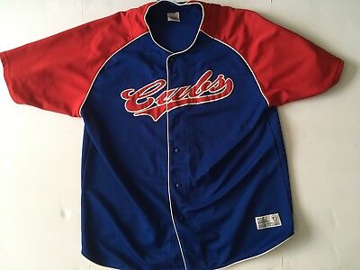 30c03a09 CHICAGO CUBS TRUE Fan Sz L Baseball Jersey Genuine MLB Blue Red ...