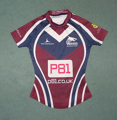 Boys Exofit Player-Fit Wilmslow Wolves rugby shirt, Olorun. Size Medium boys.