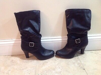 f97136084ad73 Jc Penney Women s Junior Size 8 1 2 Buckle Side Zip Leather Black Mid Calf